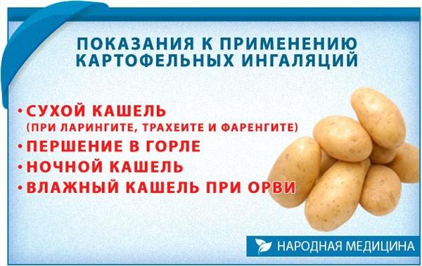 Показания к применению картофельных ингаляций при кашле