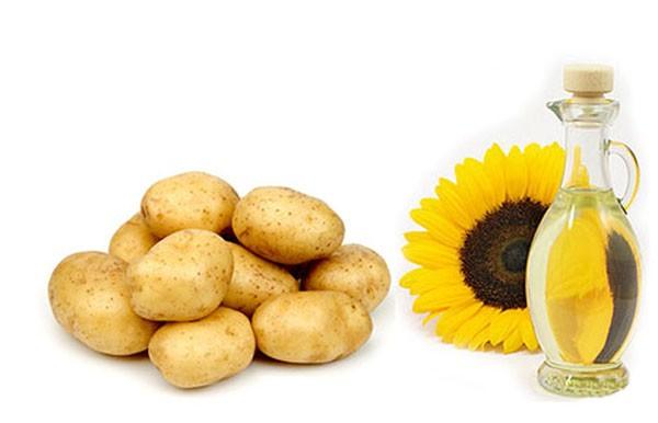 Свежий картофель и растительное масло