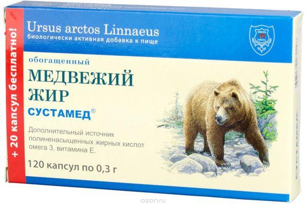 Упаковка медвежьего жира в капсулах