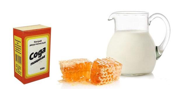 Пищевая сода, мед и молоко