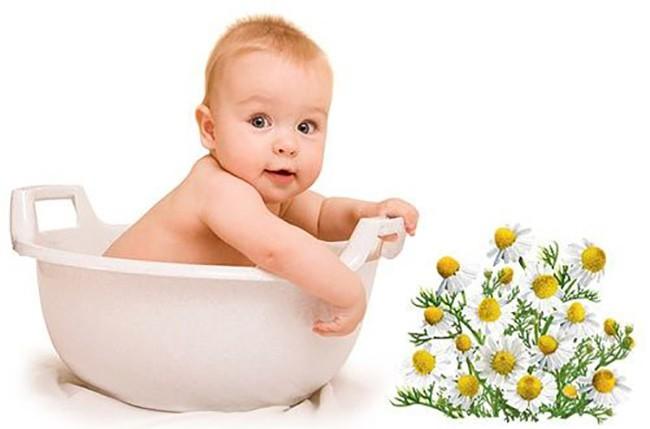 Купание грудного ребенка в ванне с отваром ромашки