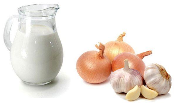 Молоко, чеснок и лук при кашле